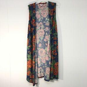 LuLaRoe Joy Long Vest Layer Lagenlook Floral